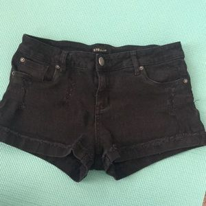 Black Distressed Cut Off Shorts